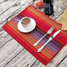 table place mats handmade cotton woven braided ribbed machine washable table place mats set of 4