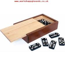 Wooden Board Games Uk Kids Double 100 Black Dominoes with White Dots in Wooden Case Board 73