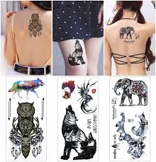 Cokohappy Raptor Flash Tattoo 27 Different Designs Fake Like Real Tattoo Eagle Beartigerowl Wolf Elephant Deer And More