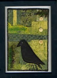 141 best Postcard Quilts images on Pinterest | Embroidery, Fabric ... & Reserve for A. Patchwork fabric art postcard That Crow Is Watching Me Adamdwight.com
