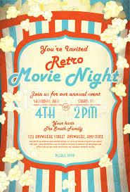 Movie Night Invitation Templates Retro Movie Night Invitation Design Template Stock Vector