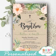 baptism cards floral blush succulent baptism invitations d800