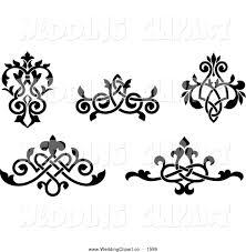 Black and White Ornate Wedding Floral Victorian Design Elements