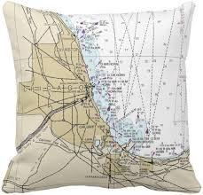 Lake Michigan Nautical Chart Chicago Lake Michigan Nautical Chart Pillow Indoor Or Outdoor