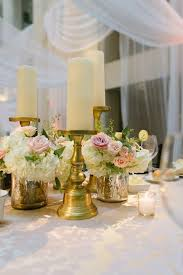 beautiful blooms jessica cooper gold blush ivory candle and flower centerpiece wedding curtis center cescaphe d