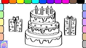 Coloring Page Of A Birthday Cake Plain Candles Simple Unicorn