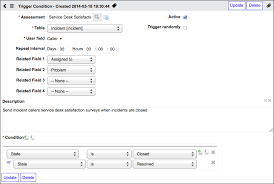 survey trigger conditions servicenow wiki