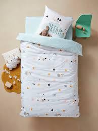 duvet cover pillowcase set for children happy love theme white light solid with design