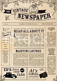 Custom Newspaper Template Vector Illustration Of A Front Page Of An Old Newspaper Use This