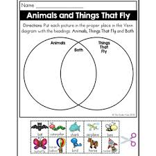 Venn Diagram Sheet Animals And Flying Things Venn Diagram Worksheet