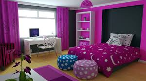 Bedroom:Interior Decor Of Modern Teenage Girl Bedroom With Polka Dots Wall  Inspiring Dark Purple