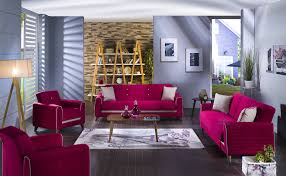 Istikbal Living Room Sets Fabio Convertible Living Room Set In Plato Fuschia By Istikbal