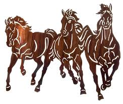 thunderstorm small 3 horse stampede metal wall art hanging 18 1 2 h x 22 w in honey pinion only