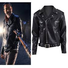 details about the walking dead negan jacket cosplay costume black synthetic leather coat