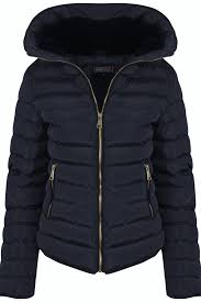 Womens Fall Padded Autumn Quilted Jacket Navy Black Wine Lined ... & Womens-Fall-Padded-Autumn-Quilted-Jacket-Navy-Black- Adamdwight.com