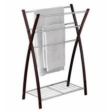 floor towel stand. Dark Brown \u0026 Chrome Floorstanding X-Shaped 5 Rail Towel Stand With Shelf Floor
