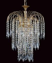 impex shower long chain 3 light strass crystal chandelier gold