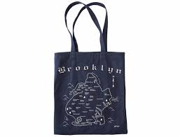 brooklyn map tote made in brooklyn  denim cotton  exit