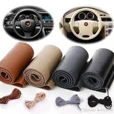 real cowhide leather steering wheel cover with needles thread diy black hand sewing genuine leathers wrap free shippin snakeskin steering wheel cover