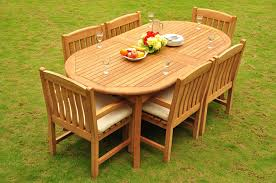 Amazon com new 7 pc luxurious grade a teak wood outdoor dining set 117 double extensions oval dining table and 6 devon arm captain chairs whdsdvw
