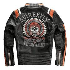 avirex fly jacket vintage genuine leather jacket men cowskin motorcycle leather coat ca clothing accessories