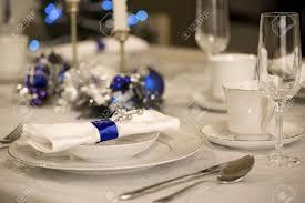 elegant table settings. Elegant Blue And White Christmas Table Setting Stock Photo - 5876263 Settings N