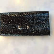 details about yves saint lau ysl black patent leather muse bag clutch envelope