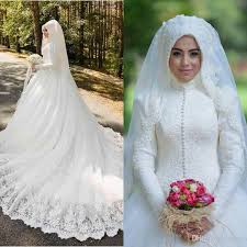 muslim wedding dresses 2016 latest full lace high neck long