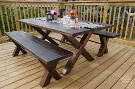 diy outdoor table. Diy-x-leg-patio-table-with-pipe-trestle Diy Outdoor Table