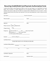 Recurring Payment Authorization Form Recurring Payment Authorization Form Template Inspirational