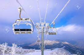 Ski Chair Lift Is Covered By Snow In Winter Korea Stock Photo