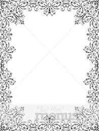 Black And White Intricate Floral Christmas Menu Borders Art