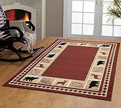 carpet area rugs. RUGS HOME Furnishmyplace Wildlife Bear Moose Rustic Lodge Cabin Carpet Area Rug, Brown Rugs