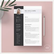 Modern Resume Etsy Modern Resume Template 4 Page Cv Template Cover Letter For Ms Word Instant Digital Download Mia