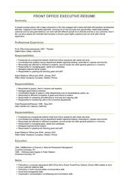 resume for front desk sample front office executive resume