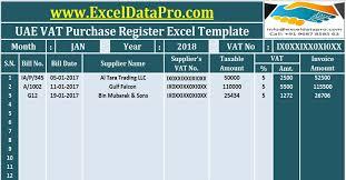 Vat Calculation Formula In Excel Download Download Uae Vat Purchase Register Excel Template Exceldatapro