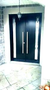 black front doors exterior modern double for homes door with stained glass