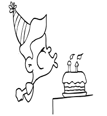 Small Picture Birthday Coloring Page A Boy Blowing the Candles Out