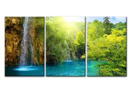 amazon waterfall sunrise blue lake canvas print wall art painting for home decor the forest 3 pieces panel paintings modern artwork the picture for  on green wall art decor with amazon waterfall sunrise blue lake canvas print wall art