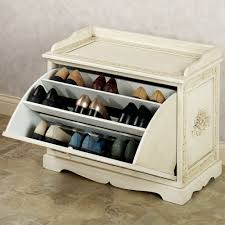 wooden shoe cabinet furniture. Furniture. Broken White Wooden Shoe Storage As Bench With Carving Oranments Placed On The Brown Cabinet Furniture E