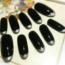 304ネイルチップsサイズ黒 シルバー 銀 シンプル 大人フレンチネイル