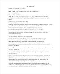 Substitute Teacher Responsibilities Resume Substitute School Teacher