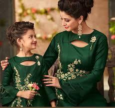 Designer Dresses For Mother And Daughter Green Mother Daughter Matching Dresses For