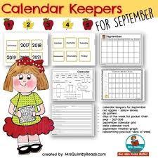 Calendar Number Cards For September Math Activities Daily Calendar Page