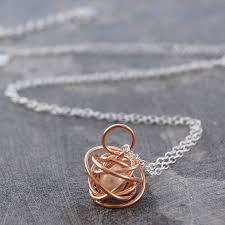 rose gold caged june birthstone white pearl necklace