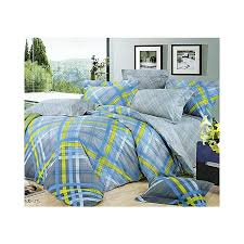 4pc checked livid duvet cover set 4 x 6 grey blue