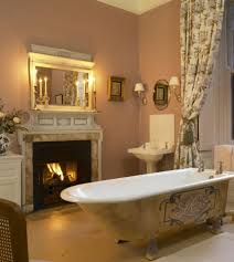 Bathroom:Contermporary Gas Fireplace Ideas For Awesome Bathroom With Glass  Shower Room And Cream Tile