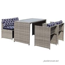 orange casual patio wicker dining set 5 pieces outdoor furniture sets garden lawn rattan sofa cushioned