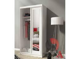 alaska 100 cm white small sliding door wardrobe with mirror