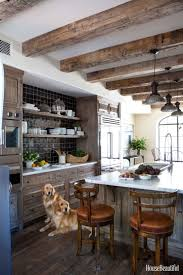 An Old Wood Kitchen With Graphic Black And White Accents
